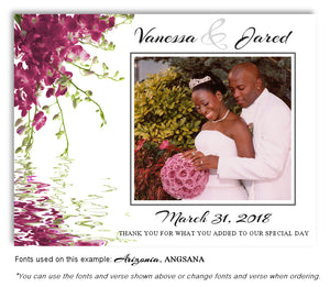 Mauve Floral Reflection Thank You Wedding Photo Magnet