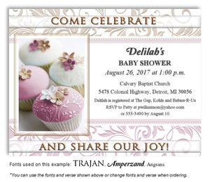 Pink Cupcakes Invitation Baby Shower Magnet