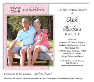 Pink Paisley Invitation Anniversary Photo Magnet