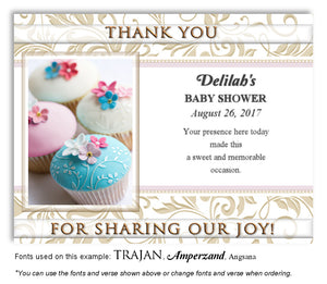 Pink-Turquoise Cupcakes Thank You Baby Shower Magnet