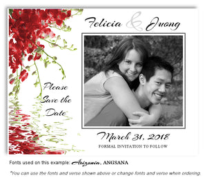 Red Floral Reflection Save the Date Wedding Photo Magnet