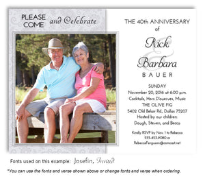 Silver Paisley Invitation Anniversary Photo Magnet