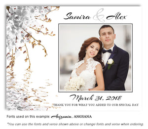 White Floral Reflection Thank You Wedding Photo Magnet