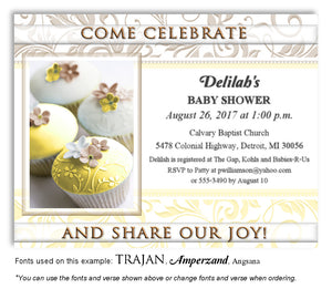 Yellow Cupcakes Invitation Baby Shower Magnet