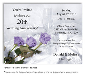 20th Lavender Elegant Roses - Invitation Magnet