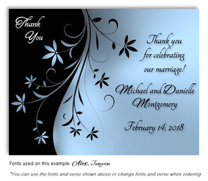 Blue Dancing Floral Thank You Wedding Magnet