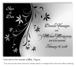 Gray Dancing Floral Save the Date Wedding Magnet