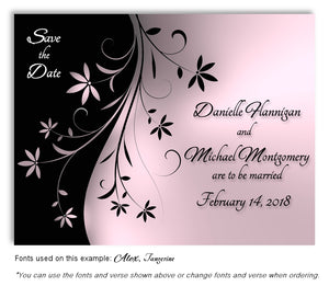 Pink Dancing Floral Save the Date Wedding Magnet