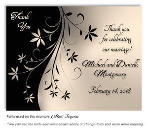 Taupe Dancing Floral Thank You Wedding Magnet
