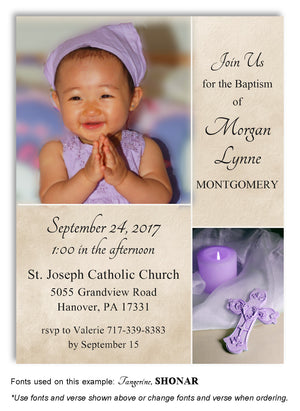 Tan-Lavender Candle and Cross Invitation Photo Baptism Magnet