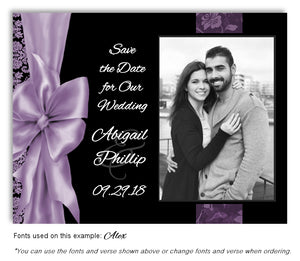 Lavender Bow Save the Date Wedding Photo Magnet
