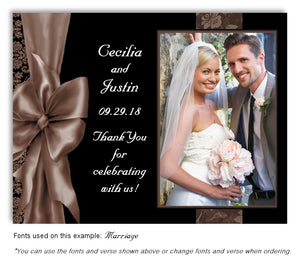 Brown Bow Thank You Wedding Photo Magnet