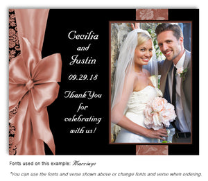 Peach Bow Thank You Wedding Photo Magnet
