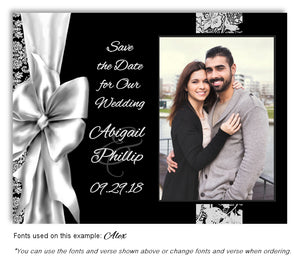 Silver Bow Thank You Wedding Photo Magnet