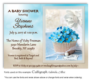 Sky Blue Cupcake Invitation Baby Shower Magnet