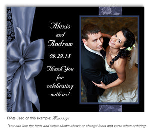Steel-Blue Bow Thank You Wedding Photo Magnet