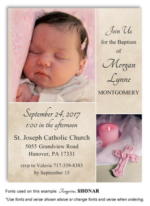 Tan-Pink Candle and Cross Invitation Photo Baptism Magnet