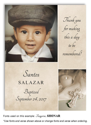 Tan Candle and Cross Thank You Photo Baptism Magnet