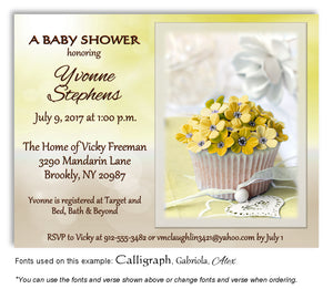 Yellow Cupcake Invitation Baby Shower Magnet