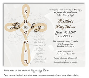 Tan Cross Scripture Invitation Baby Shower  Magnet