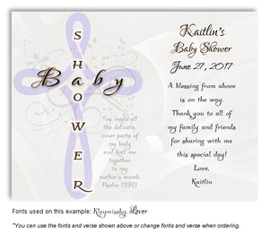Lavender Cross Scripture Thank You Baby Shower  Magnet