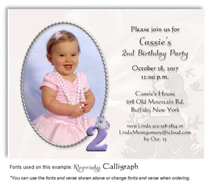 Lavender Princess Invitation Photo Birthday Magnet