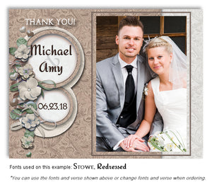 Neutral Floral Petals Thank You Wedding Photo Magnet