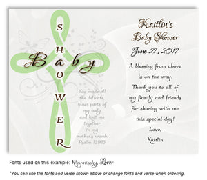 Pale Green Cross Scripture Thank You Baby Shower  Magnet