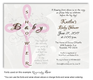 Pink Cross Scripture Invitation Baby Shower  Magnet