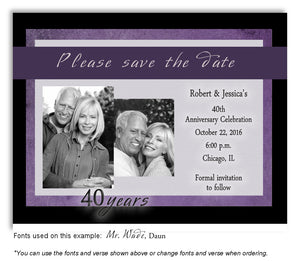 Plum Modern Flare Save the Date Photo Anniversary Magnet