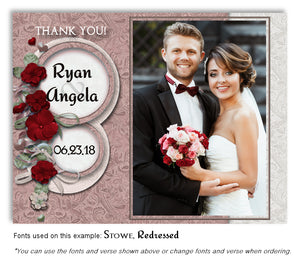 Red Floral Petals Thank You Wedding Photo Magnet