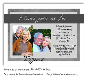 Silver Modern Flare Invitation Photo Anniversary Magnet