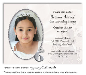 Silver Princess Invitation Photo Birthday Magnet