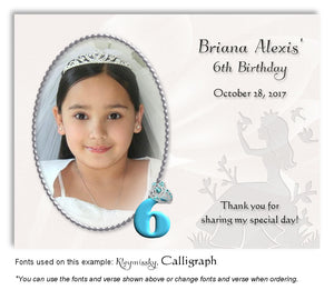 Turquoise Princess Thank You Photo Birthday Magnet