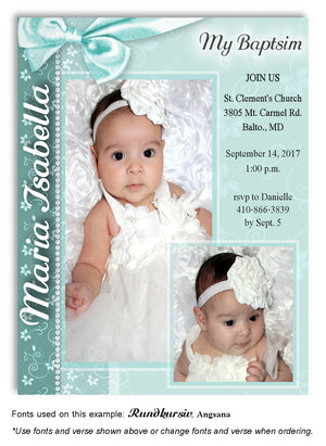 Aqua Floral Side Bow Invitation Photo Baptism Magnet