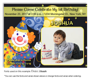 Black-Blue-Yellow Clown Invitation Photo Birthday Magnet