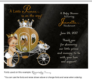 Black Prince/Princess Thank You Baby Shower Magnet