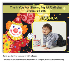 Black-Red-Yellow Clown Thank You Photo Birthday Magnet