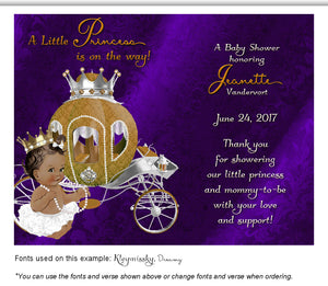 Blue Violet Prince/Princess Thank You Baby Shower Magnet