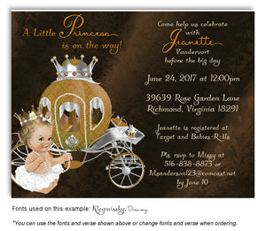 Brown Prince/Princess Invitation Baby Shower Magnet