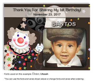 Brown-Taupe-Black Clown Thank You Photo Birthday Magnet