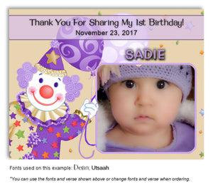 Cream-Purple-Lavender Clown Thank You Photo Birthday Magnet