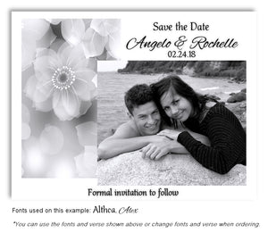 Gray Soft Floral Save the Date Wedding Photo Magnet