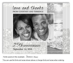 Silver Sparkling Waters Thank You Anniversary Photo Magnet