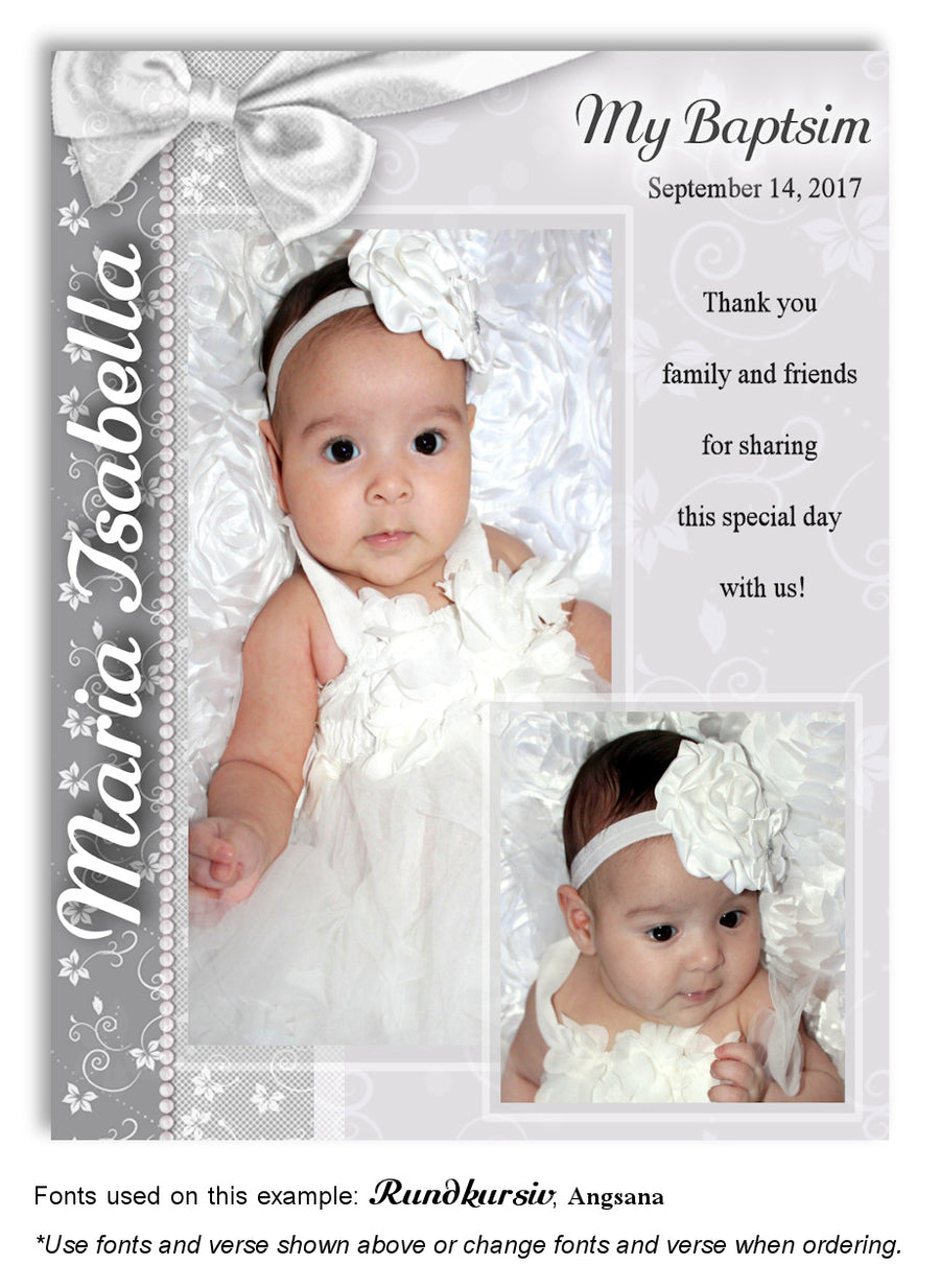 Cream Floral Side Bow Invitation Photo Baptism Magnet