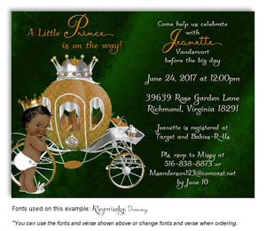 Dark Green Prince/Princess Invitation Baby Shower Magnet