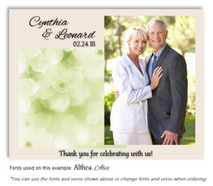 Green Soft Floral Thank You Wedding Photo Magnet