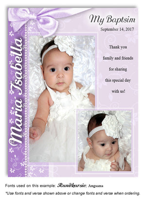 Lavender Floral Side Bow Thank You Photo Baptism Magnet