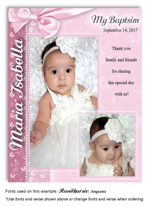 Pink Floral Side Bow Thank You Photo Baptism Magnet