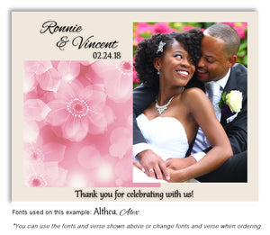 Pink Soft Floral Thank You Wedding Photo Magnet